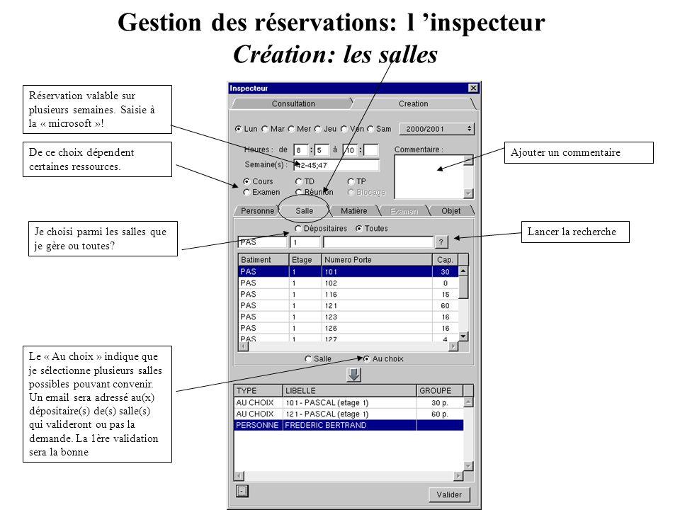 Gestion des réservations: l 'inspecteur Création: les salles