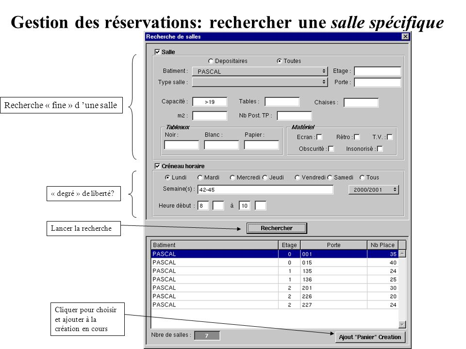 Gestion des réservations: rechercher une salle spécifique