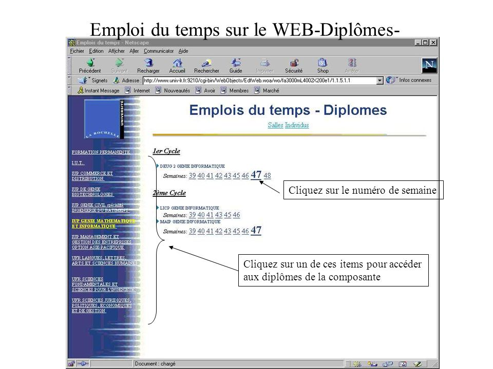 Emploi du temps sur le WEB-Diplômes-
