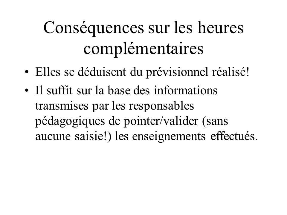 Conséquences sur les heures complémentaires