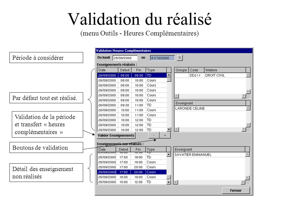 Validation du réalisé (menu Outils - Heures Complémentaires)