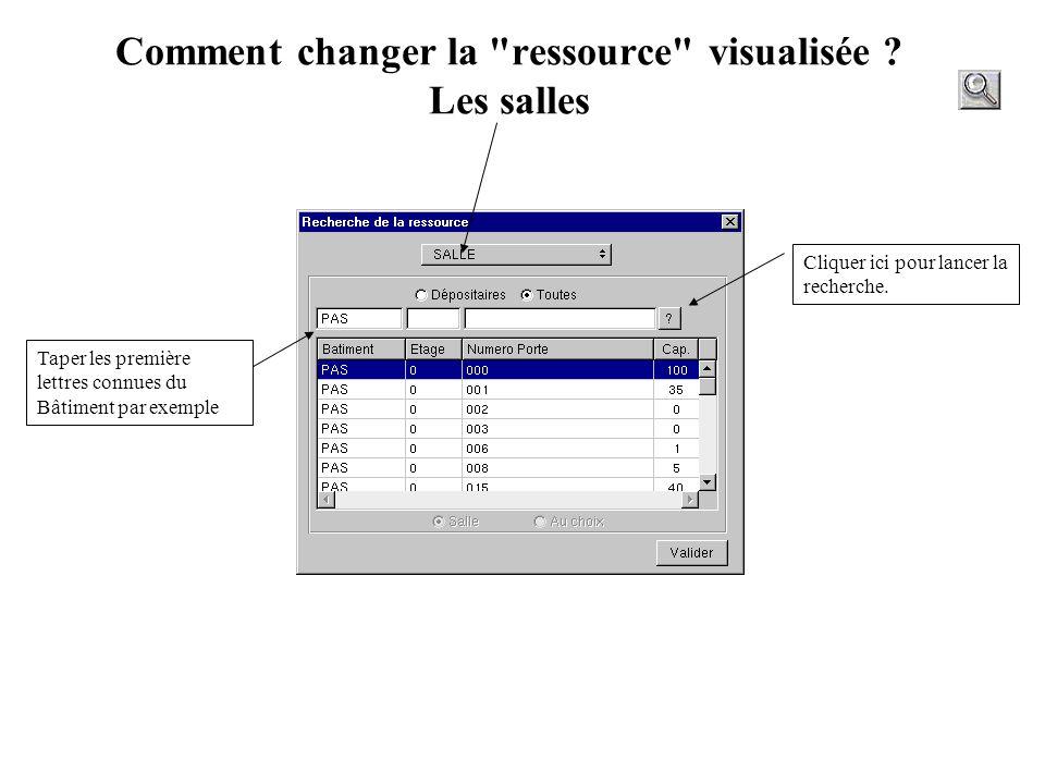 Comment changer la ressource visualisée Les salles