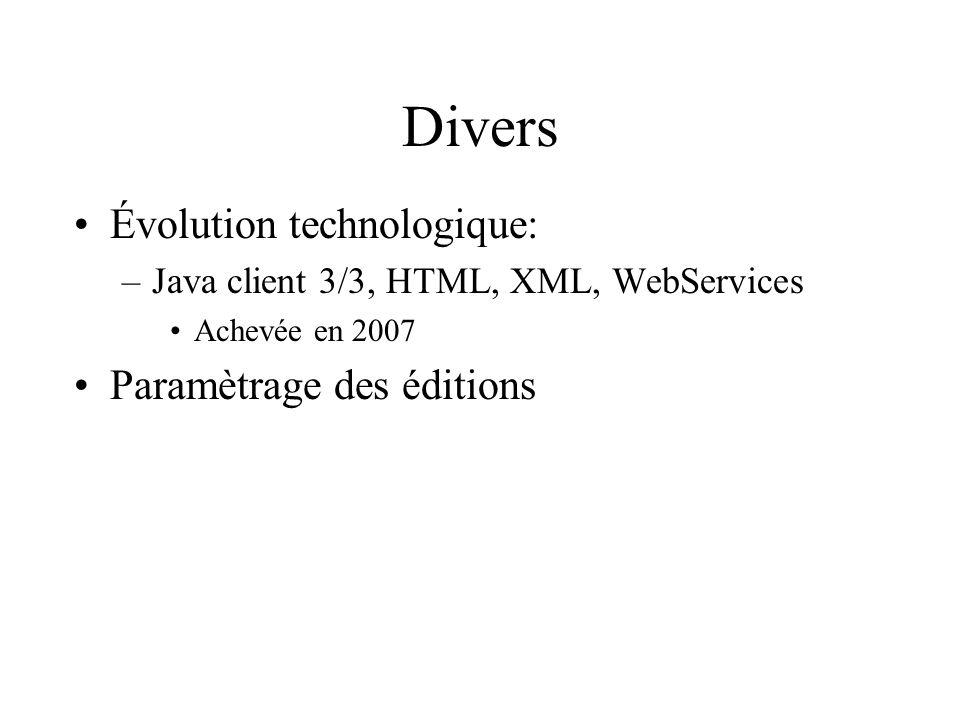Divers Évolution technologique: Paramètrage des éditions