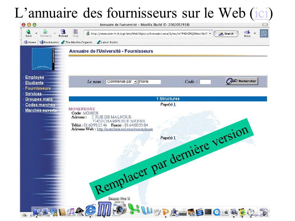 L'annuaire des fournisseurs sur le Web (ici)
