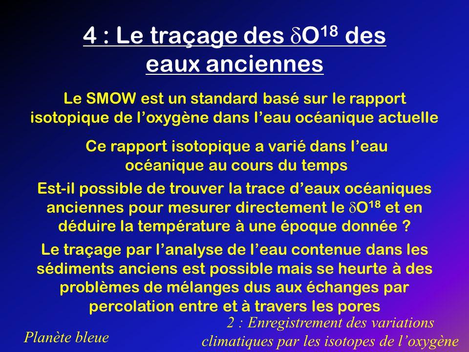 4 : Le traçage des O18 des eaux anciennes