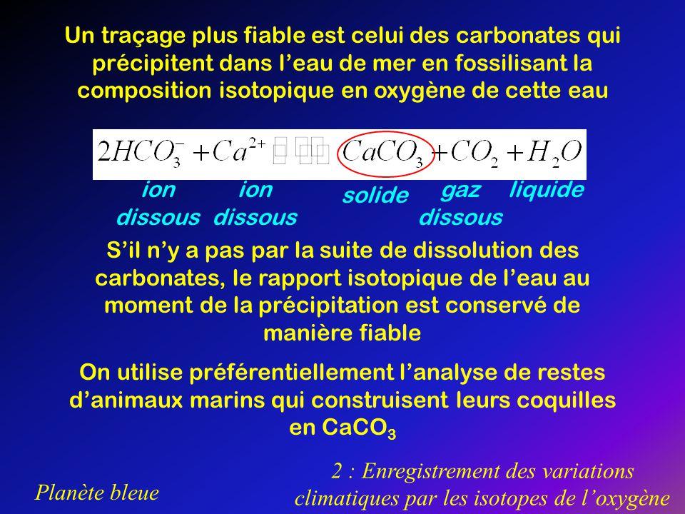 Un traçage plus fiable est celui des carbonates qui précipitent dans l'eau de mer en fossilisant la composition isotopique en oxygène de cette eau