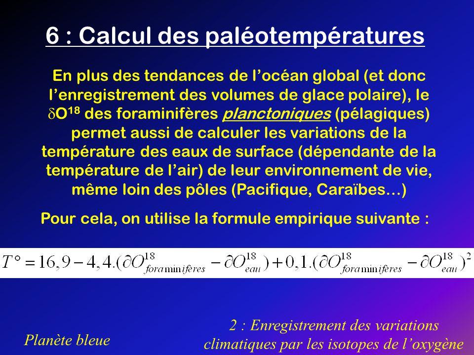 6 : Calcul des paléotempératures