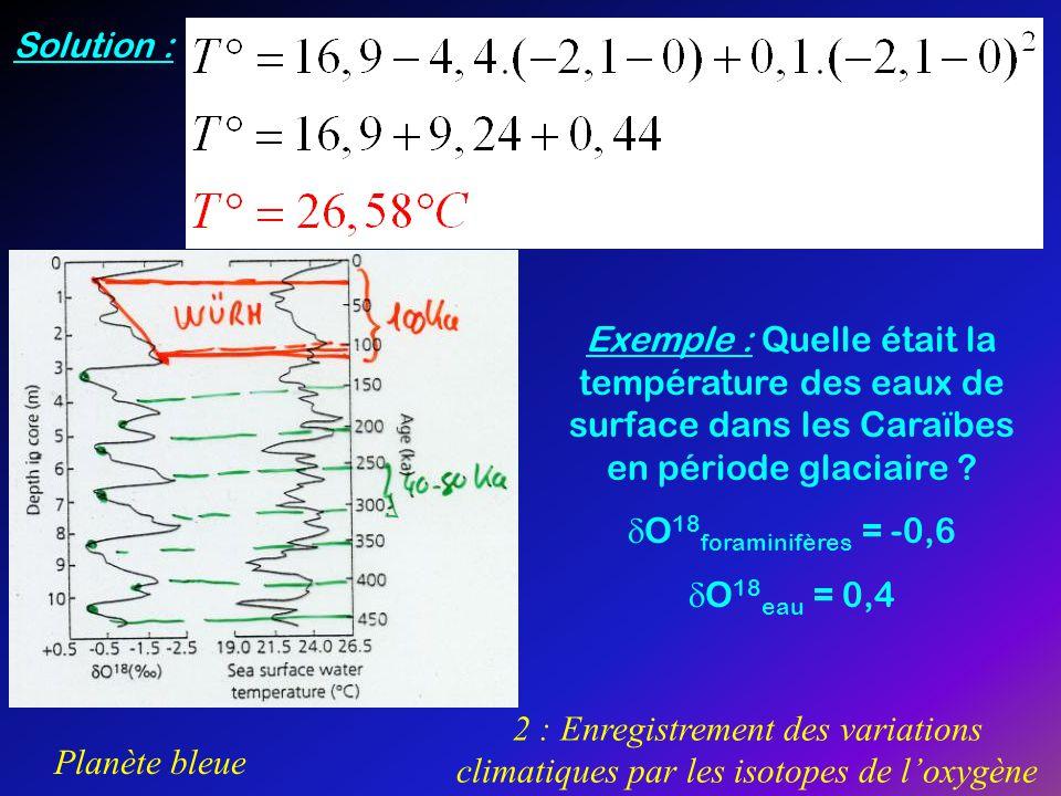 Solution : Exemple : Quelle était la température des eaux de surface dans les Caraïbes en période glaciaire