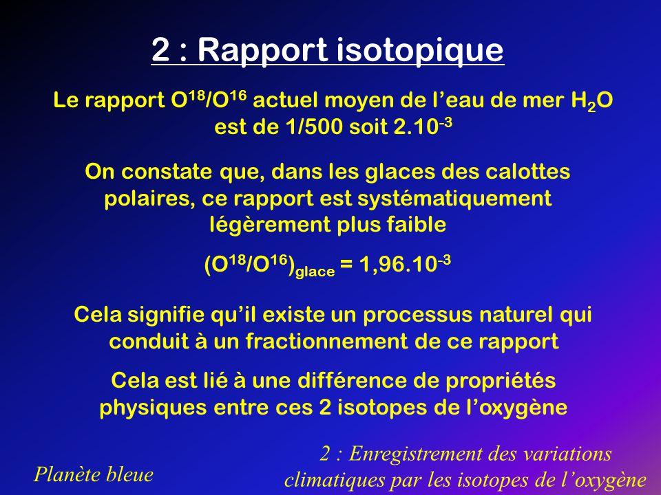 2 : Rapport isotopique Le rapport O18/O16 actuel moyen de l'eau de mer H2O est de 1/500 soit 2.10-3.