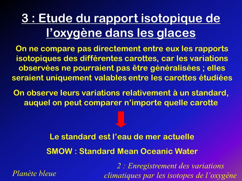 3 : Etude du rapport isotopique de l'oxygène dans les glaces
