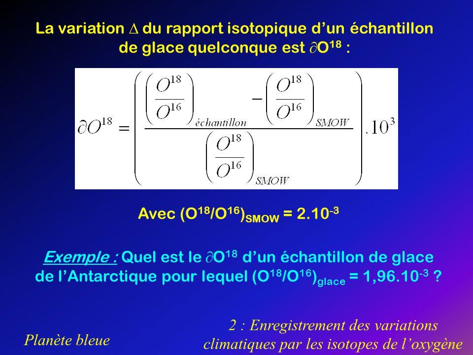 La variation  du rapport isotopique d'un échantillon de glace quelconque est O18 :
