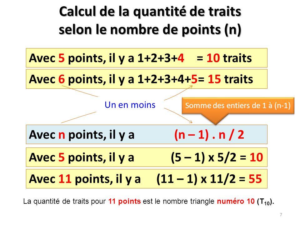 Calcul de la quantité de traits selon le nombre de points (n)