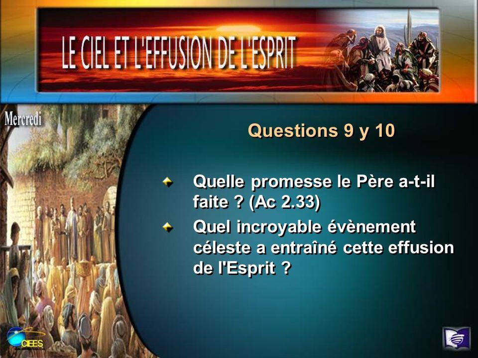 Questions 9 y 10 Quelle promesse le Père a-t-il faite (Ac 2.33)