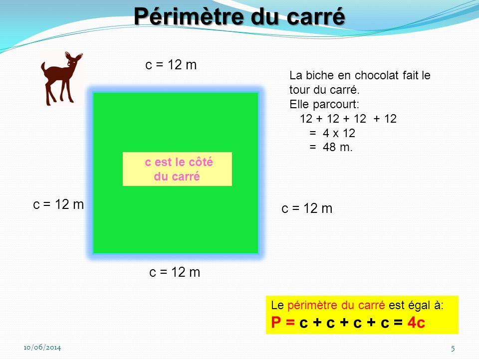 Périmètre du carré c = 12 m c = 12 m