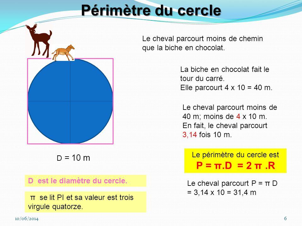 Le périmètre du cercle est P = π.D = 2 π .R