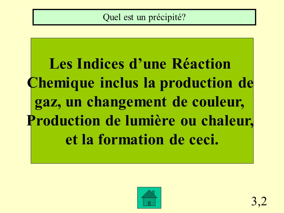 Les Indices d'une Réaction Chemique inclus la production de