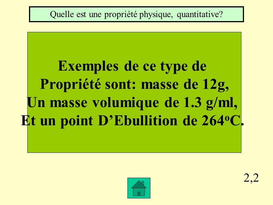 Propriété sont: masse de 12g, Un masse volumique de 1.3 g/ml,