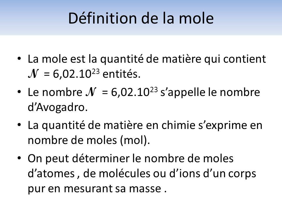 Définition de la mole La mole est la quantité de matière qui contient N = 6,02.1023 entités.