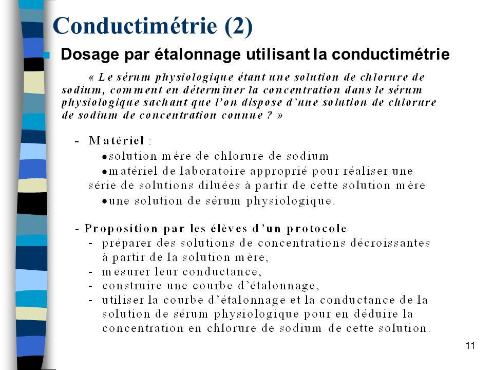 Conductimétrie (2) Dosage par étalonnage utilisant la conductimétrie