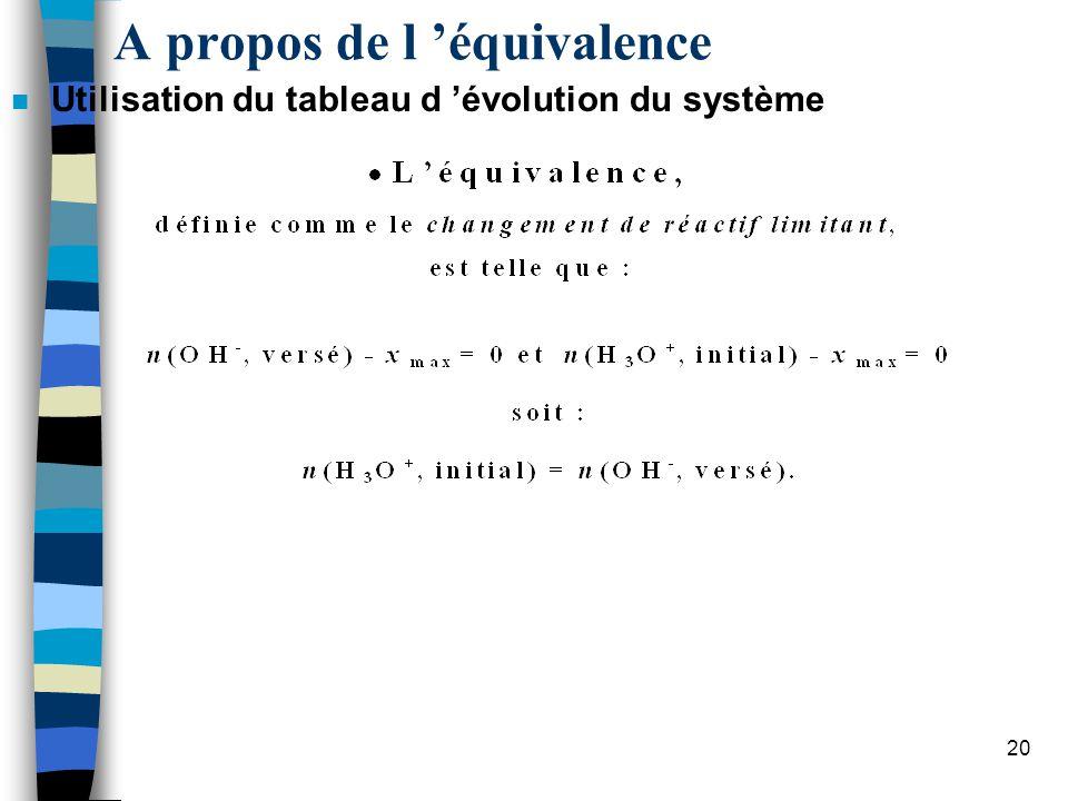 A propos de l 'équivalence