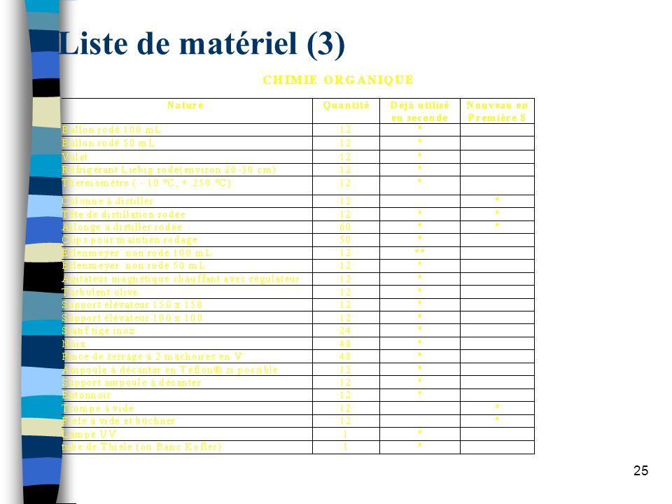 Liste de matériel (3)