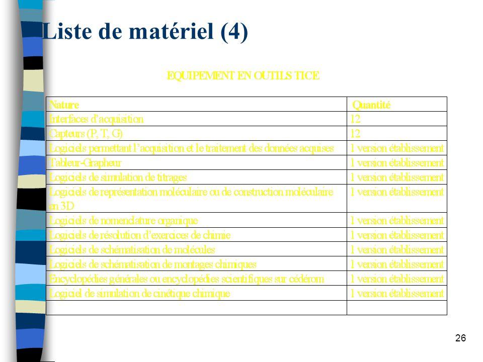 Liste de matériel (4)