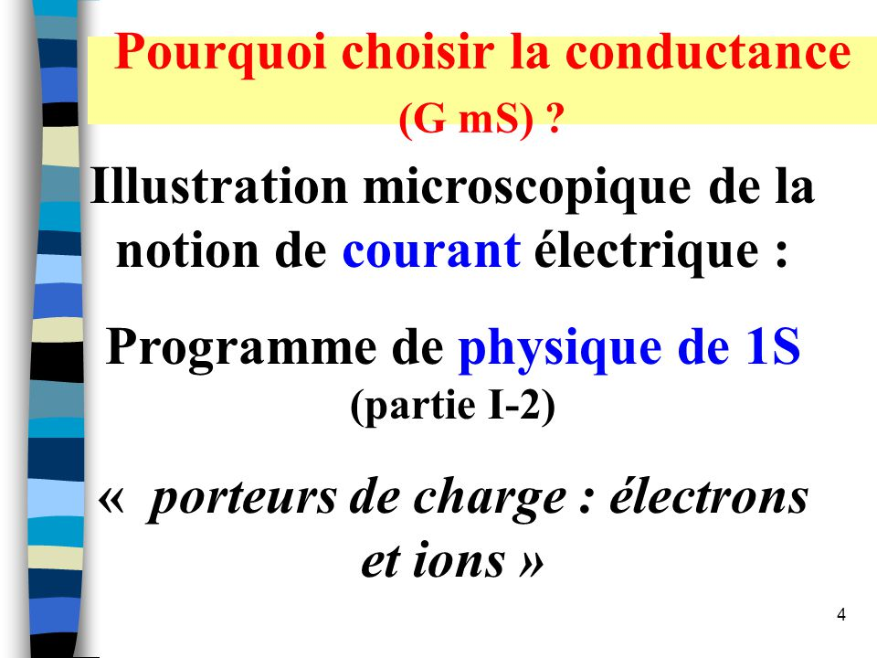 Pourquoi choisir la conductance (G mS)