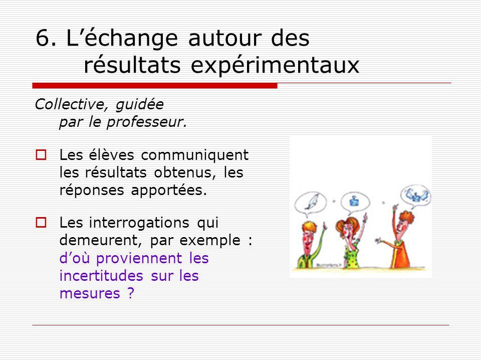 6. L'échange autour des résultats expérimentaux