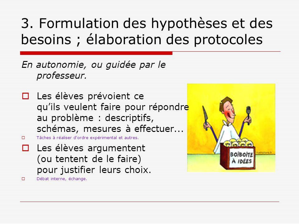 3. Formulation des hypothèses et des besoins ; élaboration des protocoles