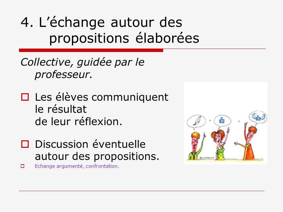4. L'échange autour des propositions élaborées