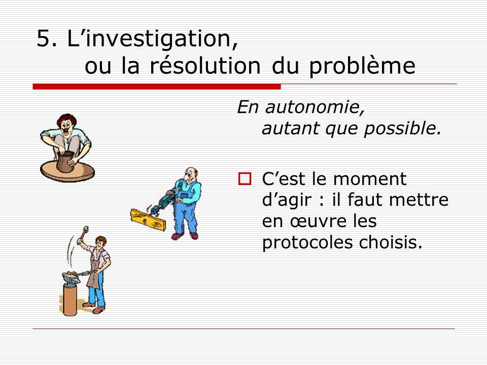 5. L'investigation, ou la résolution du problème