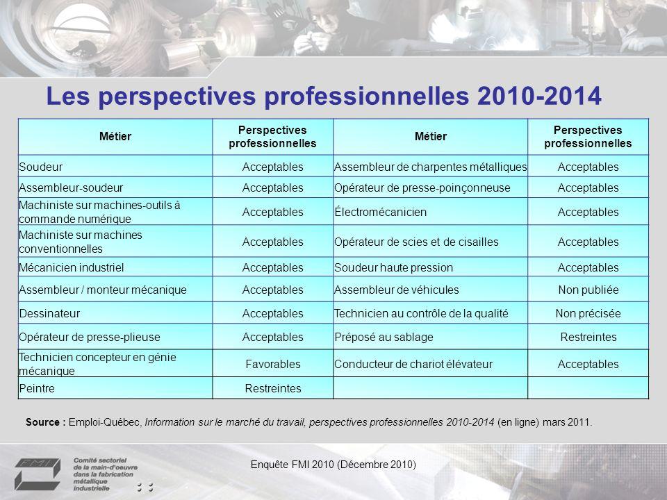 Les perspectives professionnelles 2010-2014