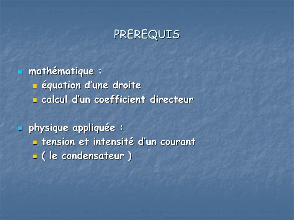 PREREQUIS mathématique : équation d'une droite