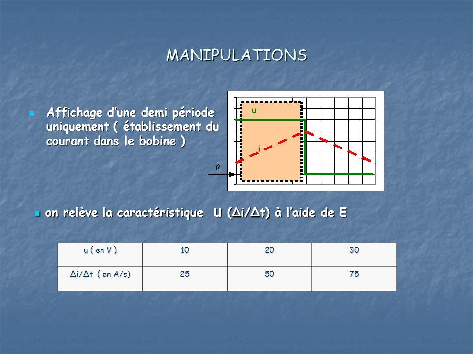 MANIPULATIONS Affichage d'une demi période uniquement ( établissement du courant dans le bobine )