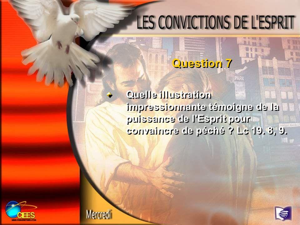 Question 7Quelle illustration impressionnante témoigne de la puissance de l Esprit pour convaincre de péché .