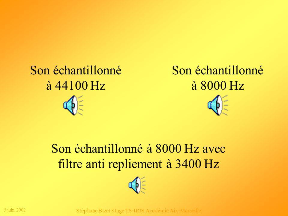 Son échantillonné à 8000 Hz avec filtre anti repliement à 3400 Hz