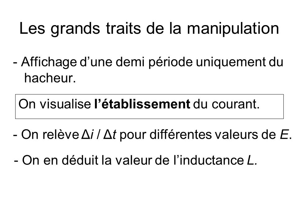 Les grands traits de la manipulation