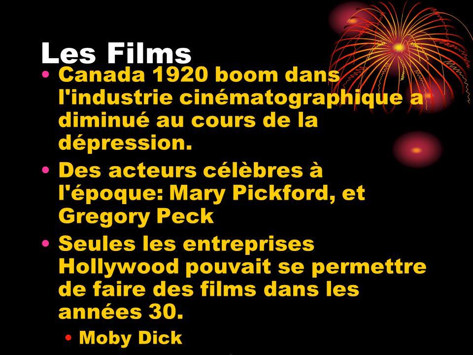Les Films Canada 1920 boom dans l industrie cinématographique a diminué au cours de la dépression.