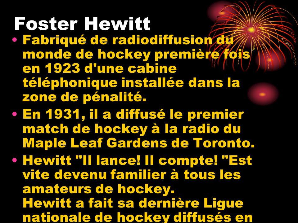 Foster Hewitt Fabriqué de radiodiffusion du monde de hockey première fois en 1923 d une cabine téléphonique installée dans la zone de pénalité.