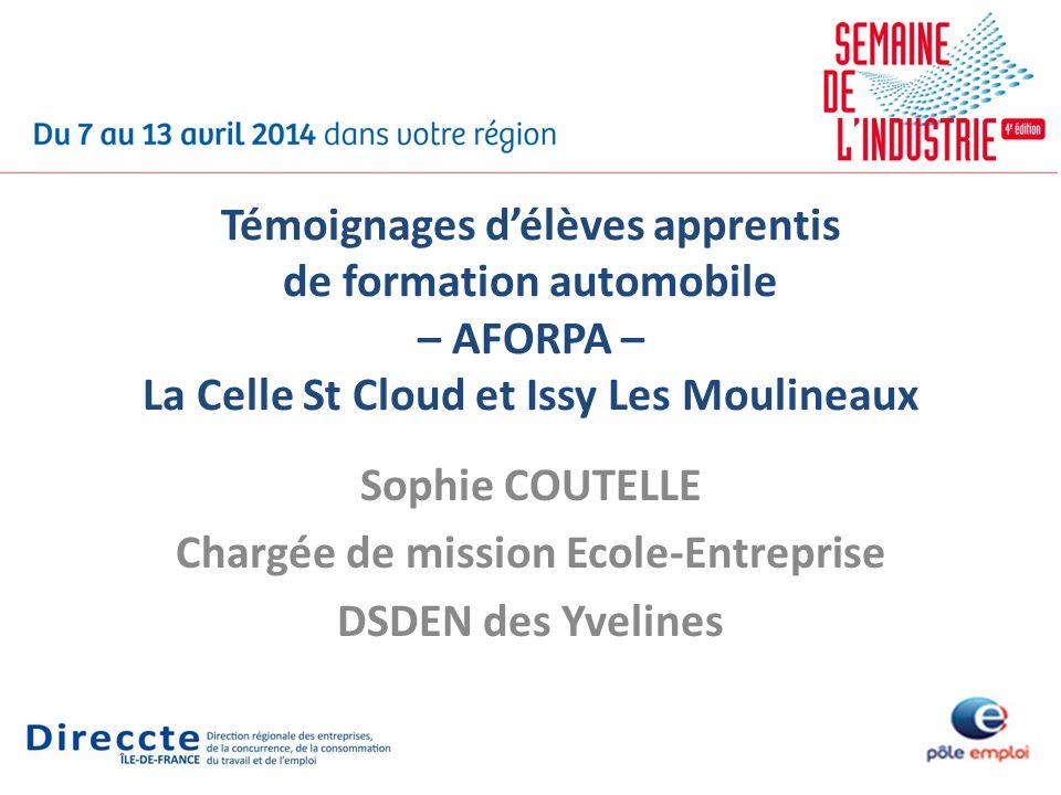 Sophie COUTELLE Chargée de mission Ecole-Entreprise DSDEN des Yvelines