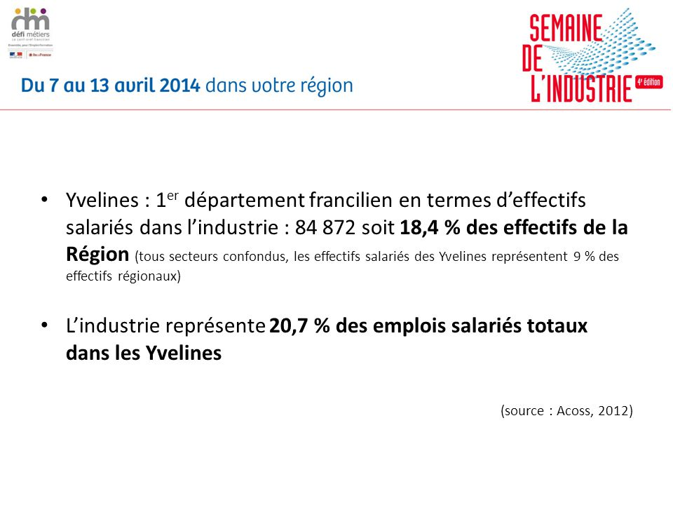 Yvelines : 1er département francilien en termes d'effectifs salariés dans l'industrie : 84 872 soit 18,4 % des effectifs de la Région (tous secteurs confondus, les effectifs salariés des Yvelines représentent 9 % des effectifs régionaux)