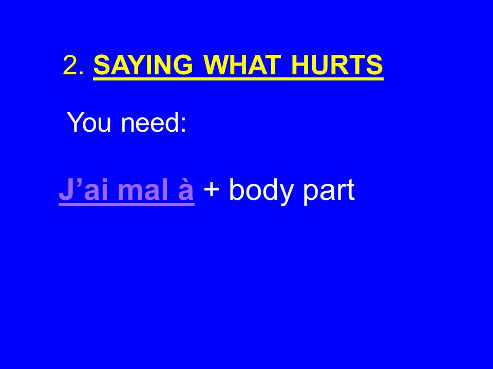 2. SAYING WHAT HURTS You need: J'ai mal à + body part