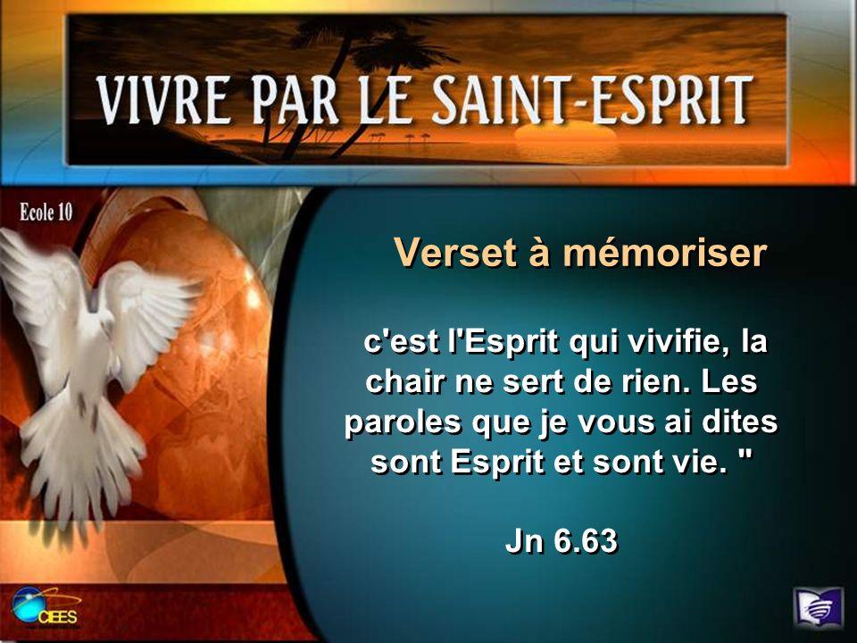 Verset à mémoriser c est l Esprit qui vivifie, la chair ne sert de rien.