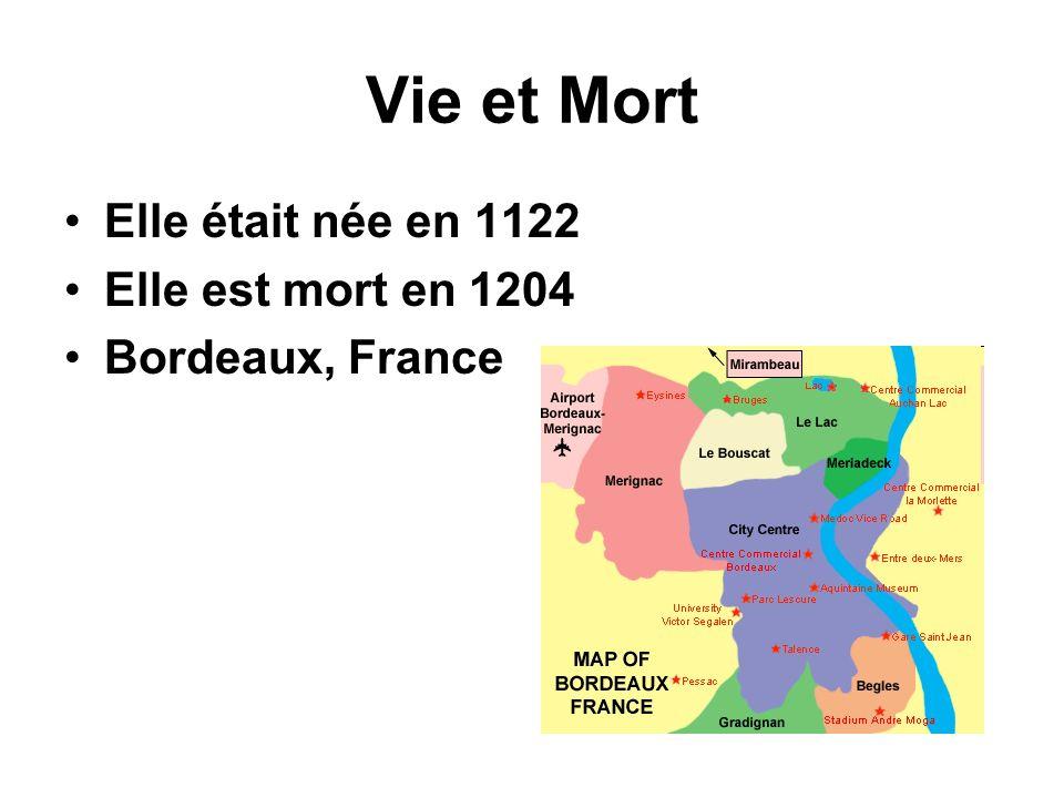 Vie et Mort Elle était née en 1122 Elle est mort en 1204