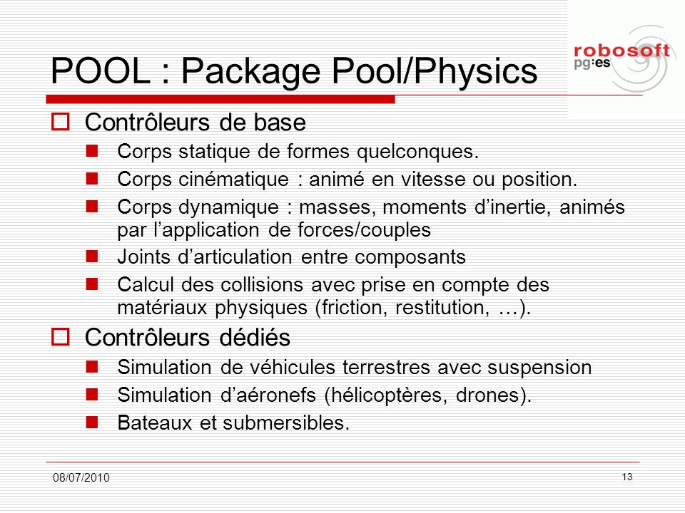POOL : Package Pool/Physics