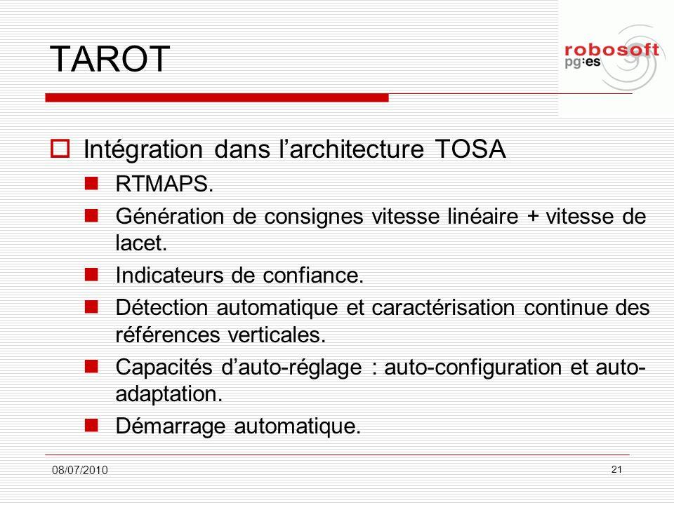 TAROT Intégration dans l'architecture TOSA RTMAPS.
