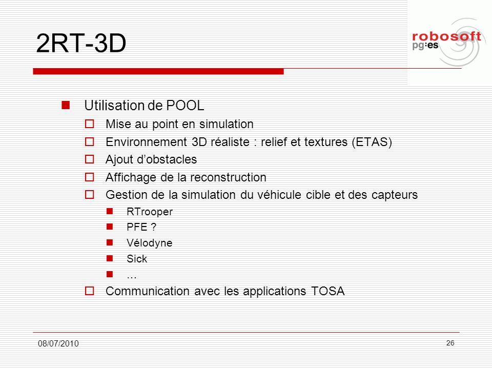 2RT-3D Utilisation de POOL Mise au point en simulation