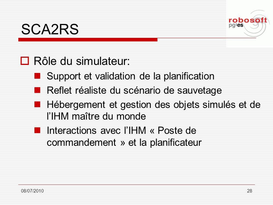 SCA2RS Rôle du simulateur: Support et validation de la planification