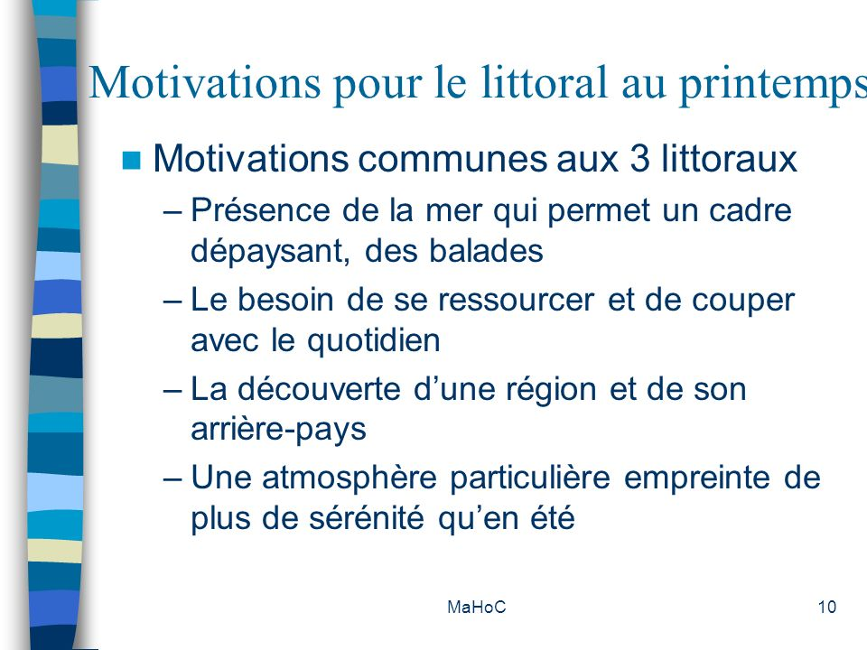 Motivations pour le littoral au printemps