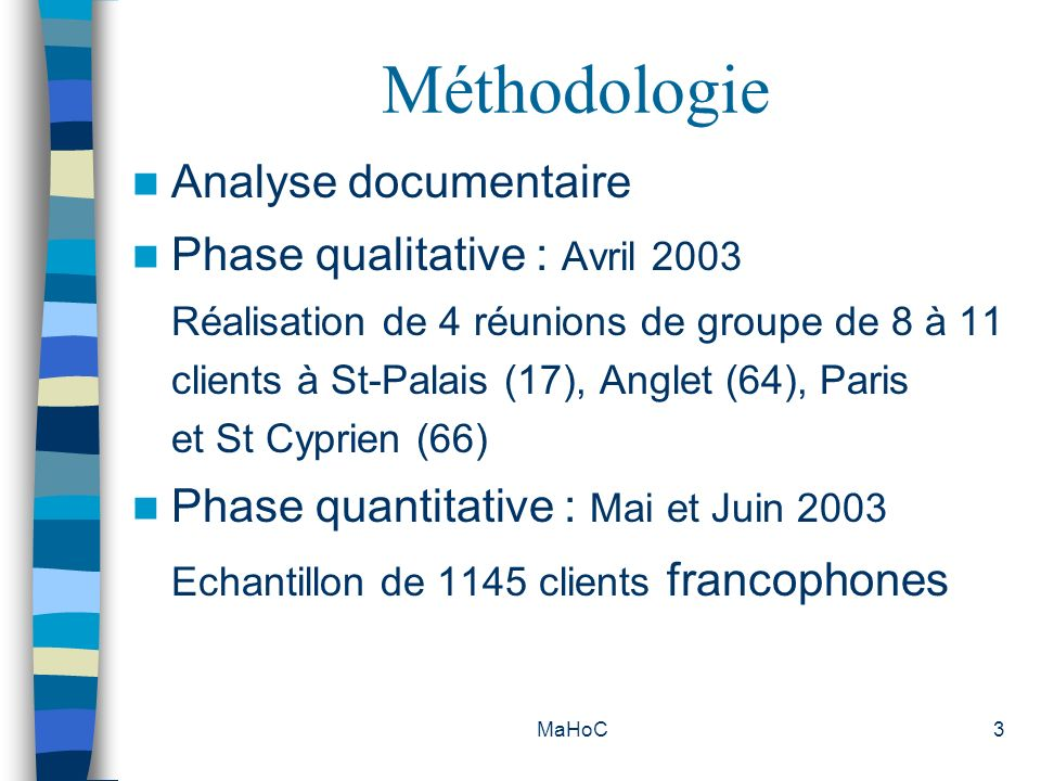 Méthodologie Analyse documentaire Phase qualitative : Avril 2003
